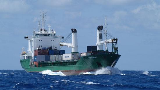 Cargo croisé en mer.