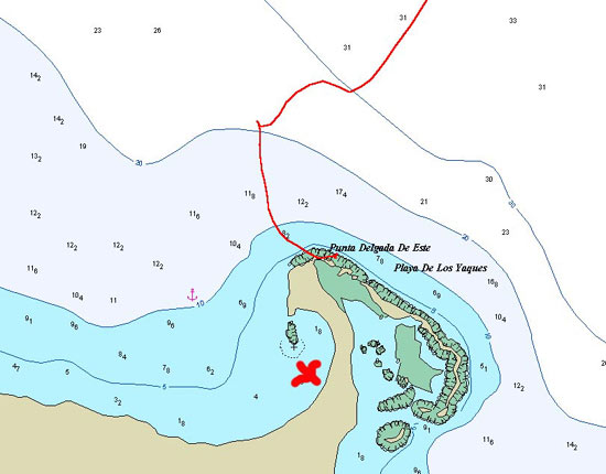 Carte mouillage Tortuga avec trace