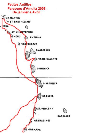 Routes d'Amuitz dans les petites Antilles.