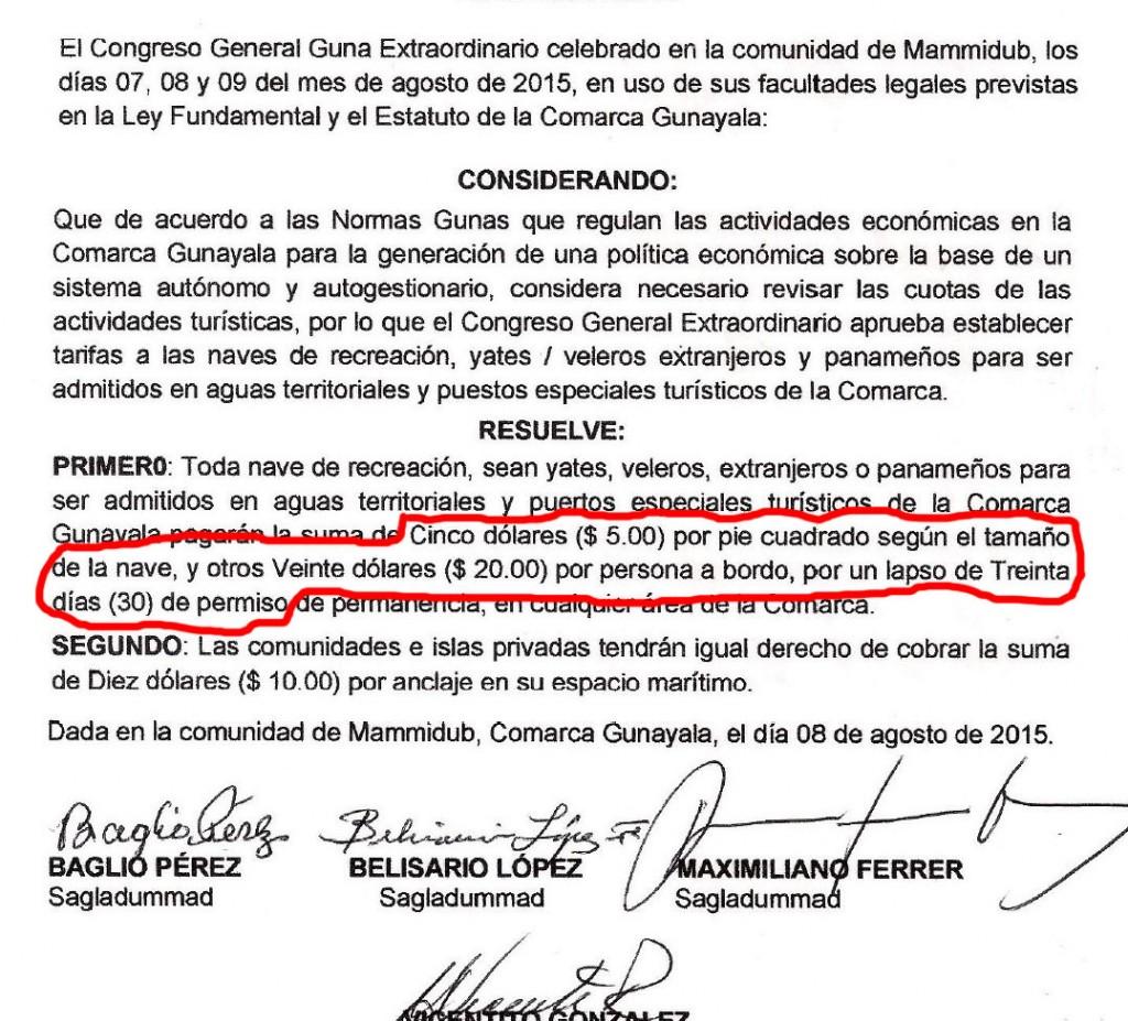 Taxes mouillage San Blas.